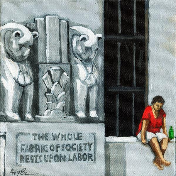 Labor City Scene - figurative oil painting
