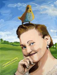 Little Bird Told Me - woman & friend figurative mixed media painting