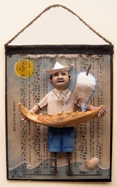 Little Boat - assemblage found object sculpture