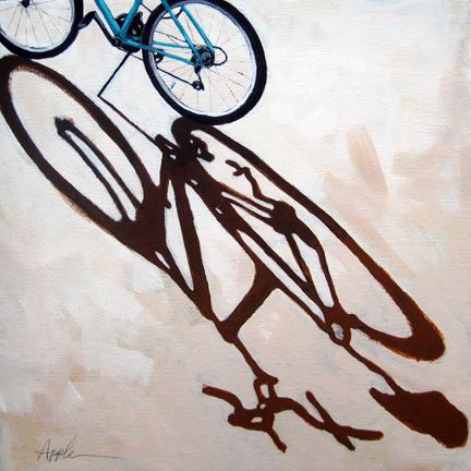 Long Day shadows cycling bike art original painting