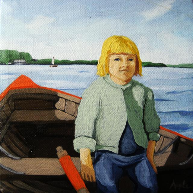 Mary's boat ride - figurative art oil painting