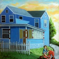 Mary's House - Patriotic red, white,and Blue 50's house landscape painting