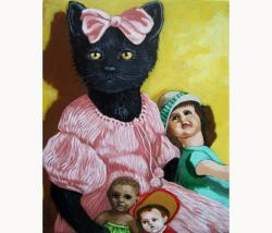 Missy - the dollmaker  black cat portrait animal art