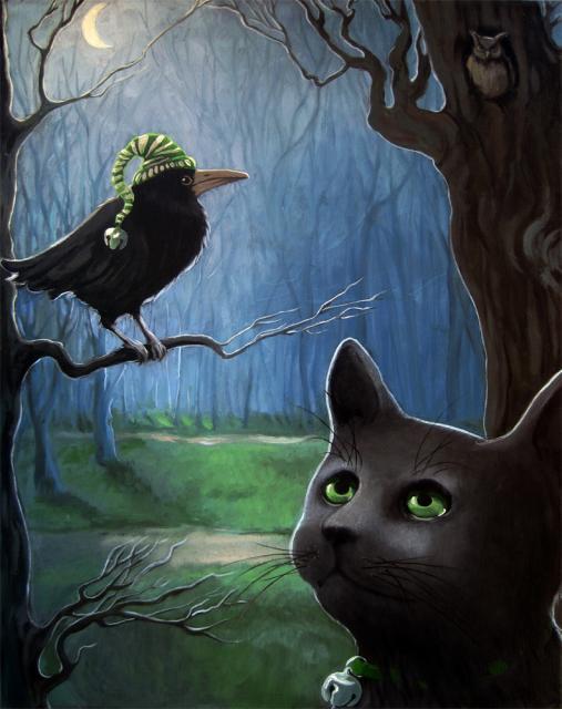 Night  Rendezvous - black cat & crow fantasy