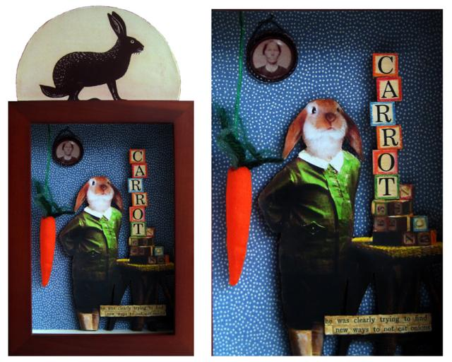 """""""Only Carrots"""" -  Rabbit assemblage, collage,altered art"""