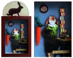 """Only Carrots"" -  Rabbit assemblage, collage,altered art"