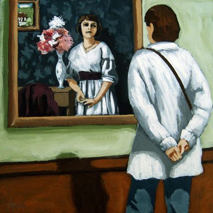 Now and Then - woman viewing art @ museum figurative art