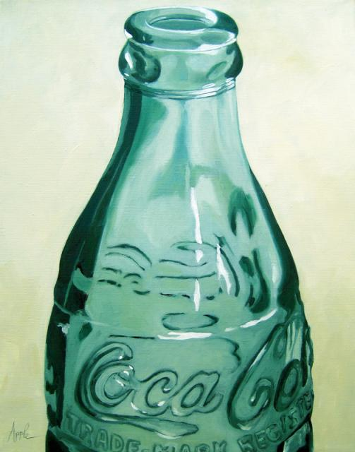 Old coca cola bottle embossed glass photo realism still Painting old glass bottles