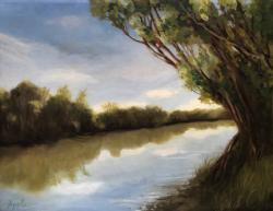 The River- impressionistic water landscape original oil painting