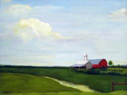 Early Corn farm landscape red barn oil painting