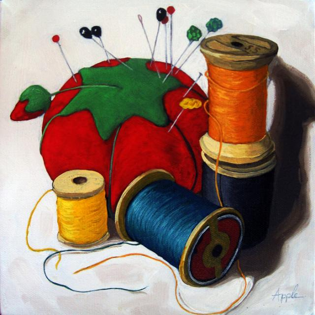 Sewing Memories realistic still life oil painting
