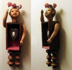 Pink Roses - art doll mixed media wall hanging