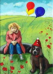 Poppys Birthday - little girl &amp; dog fantasy painting