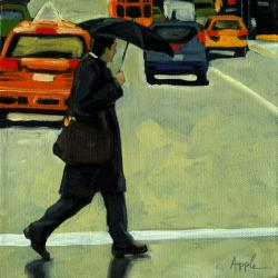 Figurative Cityscape oil painting - &quot;Rainy Day Business&quot;