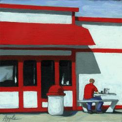 Burger Break - Red, White & Blue figurative oil painting