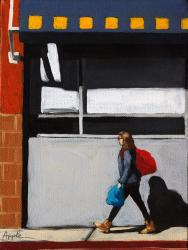 Daily Errands - figurative city scene oil painting