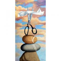 Rock, Paper, Scissors whimsical realistic still life painting
