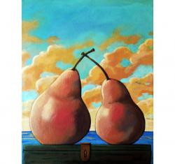 Romantic Pear realistic still life food art painting