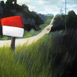 RURAL LANDSCAPE Mail boxes Large oil painting