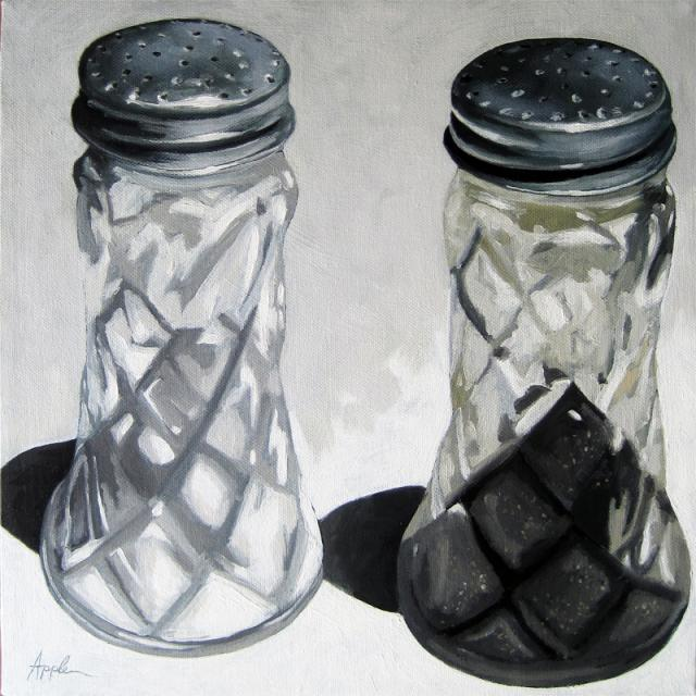 Vintage Salt and Pepper Shakers realism still life oil painting