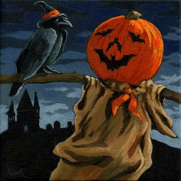 Black Crow Halloween,pumpkin scarecrow night,Halloween art by ...