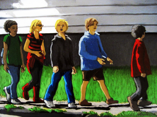 School Outing - children walking city oil painting