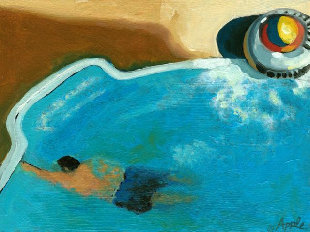 Solitary Swim - swimming in a pool figurative art