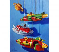 Space Dreams - still life realistic vintage toys