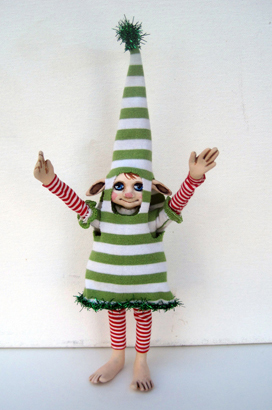 Sparkle Xmas Elf ooak sculpture art doll figure