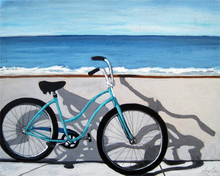 Bicycle art by the ocean