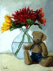 Springtime Teddy - flower still life