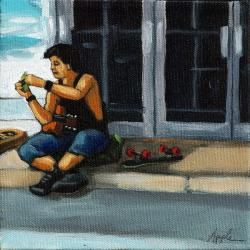 Playing music on street figurative oil painting