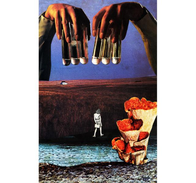 The Elixir - surreal traditional landscape collage