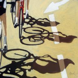 The Race 2  bicycle art oil painting