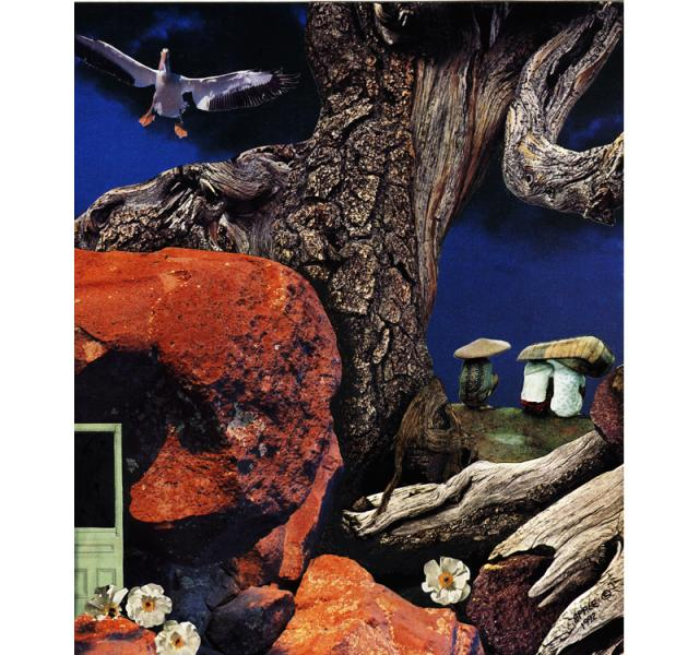 Mushroom People - surreal fantasy original collage