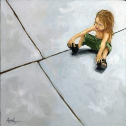 The Sidewalk - Little girl figurative oil painting