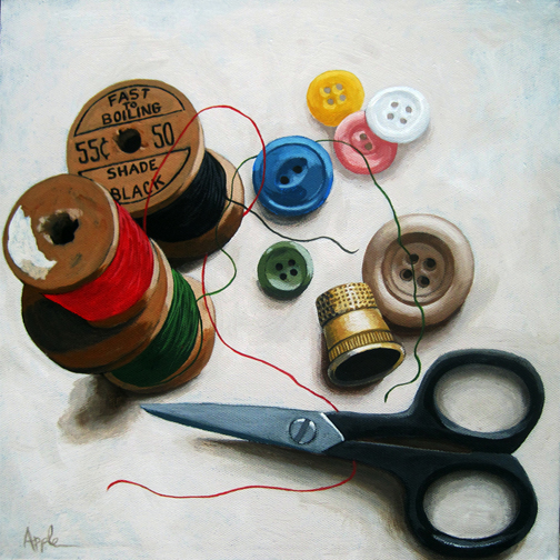 Sewing Thread & Scissors still life realistic painting