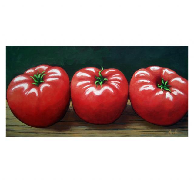 The Three Tomatoes - realistic still life food art