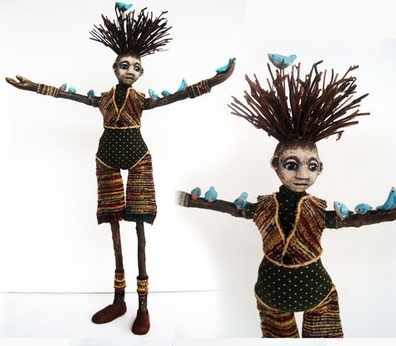 Woman with birds mixed media sculpture art doll