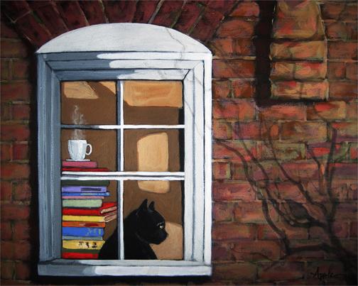 Cat in window animal art portrait