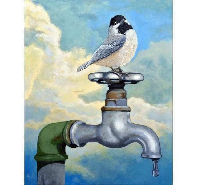 Chickadee realistic bird portrait on old water faucet painting ...