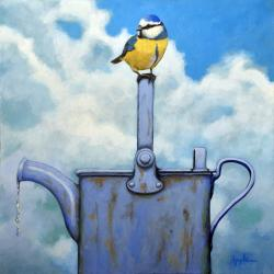 Cute Blue-Tit realistic bird portrait on antique watering can realistic nature