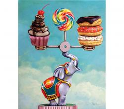 Well-Balanced Diet - whimsical realistic still life