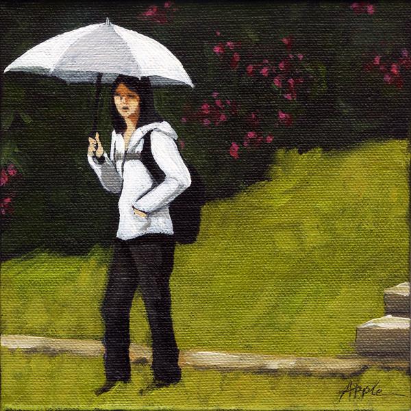 White Umbrella - figurative city scene