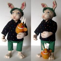 Wiber &amp; Friend - OOAK rabbit fantasy sculpture