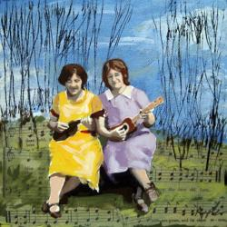 Woodland Music women mixed media painting