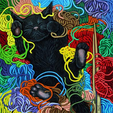 Yarn Dreams - kitten in yarn basket