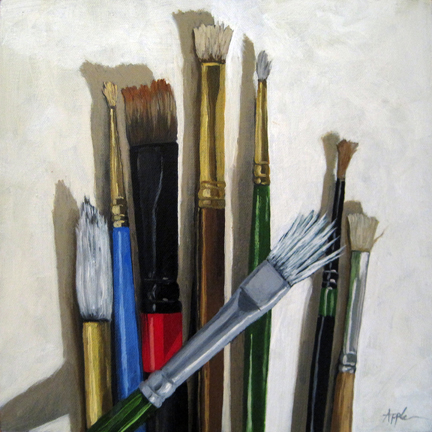 Artists Brushes still life oil painting