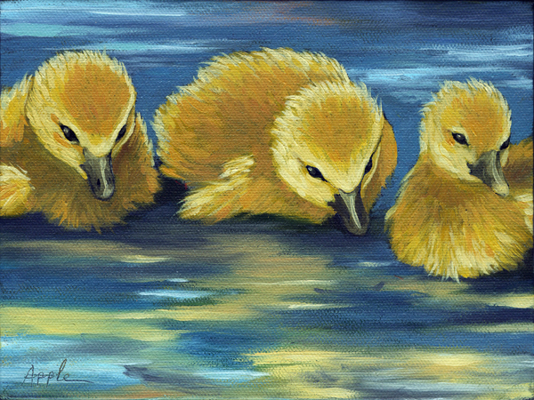 Three Little Ducklings - animal oil painting