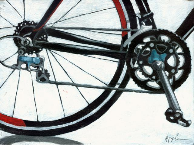 Geared Up - bicycle art oil painting